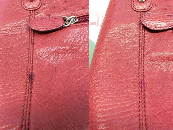 レザー皮革ハンドバッグの油じみビフォーアフター