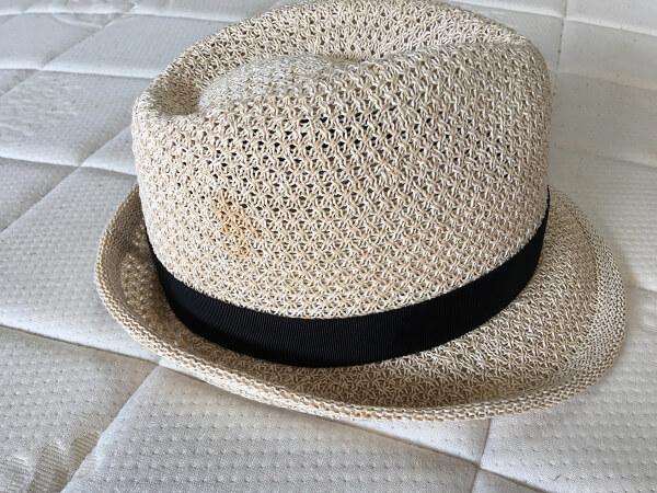 和紙入り帽子・ハットのしみ抜きビフォー3