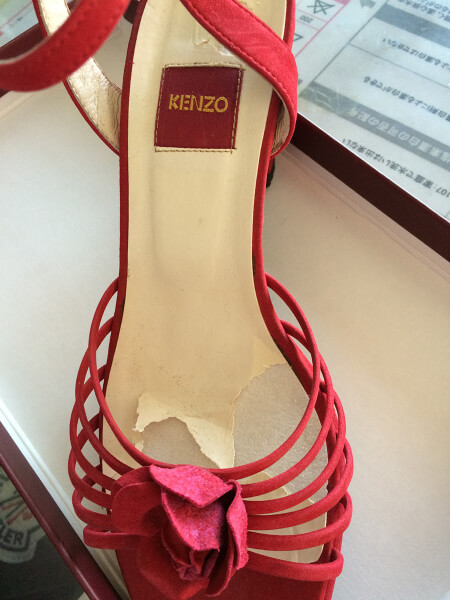 KENZO婦人靴の中敷き修理(交換)ビフォー