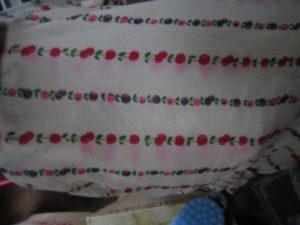 スカートのプリント柄の色泣き