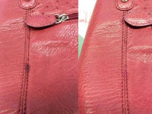 皮革ハンドバッグの油じみ修復